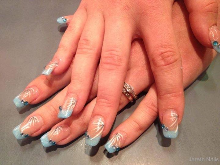 Acryl blauw met nail art
